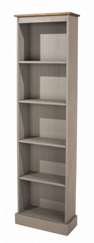 Premium Corona Grey Wash Tall Narrow Bookcase